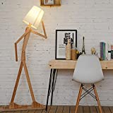 Wooden Original 1.6m Ffloor Lamp Room Standing Light Variety Character Modeling Shade Linen White Modern Cool for Bedroom Living Room (Light Brown)