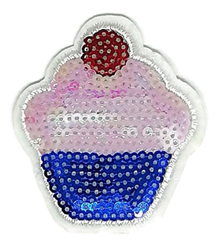 2 x 2.5 inches Cute Cupcake Sequin Shine Shiny Sew on Embroidered Applique Carft Handmade Baby Kid Girl Women Snapback Dress Jacket Jean Hat Cap Vest T shirt DIY Costum Cloth Sew on patches.