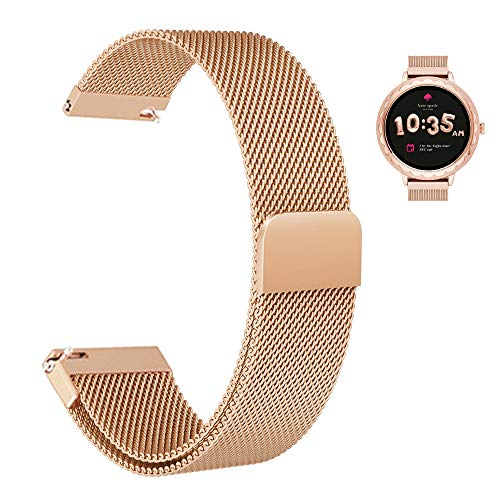 e Kate Spade New York Women's Scallop Smart Watch, Stainless Steel Mesh Milanese Loop Magnetic Watch Band Easy to Adjust for Kate Spade Scallop Smartwatch (Rose Gold) ()