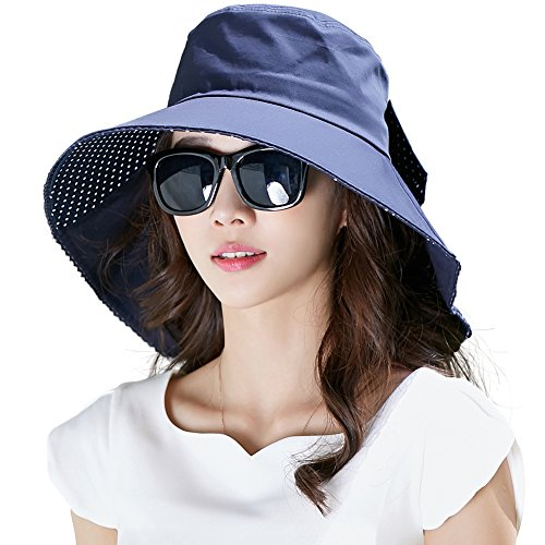 Cool Sun Hat (Siggi Womens Wide Brim Summer Sun Flap Bill Cap Cotton Hat Neck Cover UPF 50+ Navy)