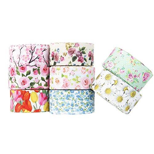 (Floral Flower Printed Grosgrain Ribbon Tape 1