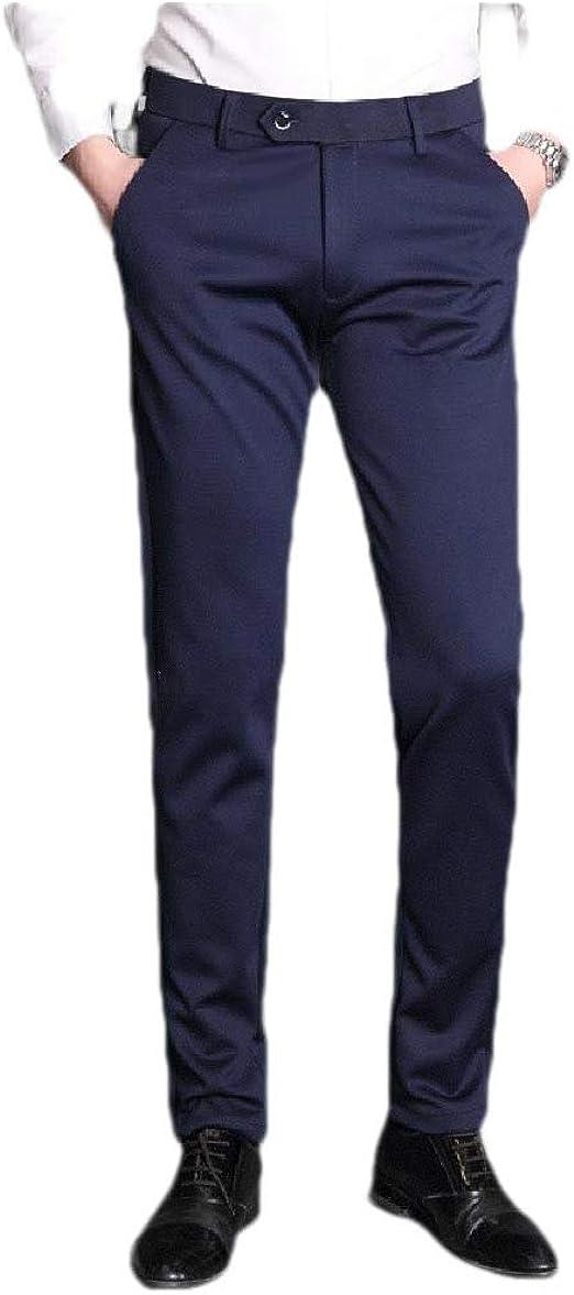AngelSpace メンズストレートスリムフィットビジネスピュアカラープレーンフロントパンツポケット付き