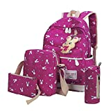 Liraly Travel Backpack,Clearance Sale! 2018 4 Sets Women Girl Rabbit Animals Travel Backpack School Bag Shoulder Bag Handbag (Hot Pink)