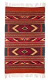 NOVICA Orange Geometric Zapotec Wool Area Rug (2.5' x 5'), 'Star Twins'