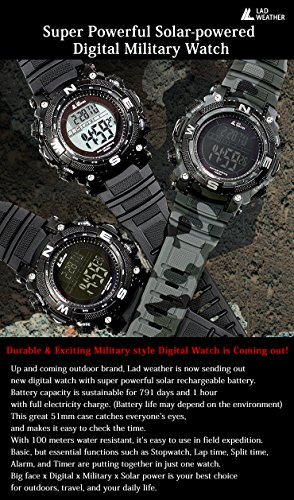 51jUTDKz6sL - [LAD WEATHER] Digital watch Powerful solar battery 100 meters water resistant Military Outdoor smarter smartwatch