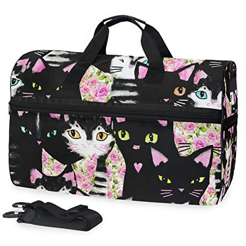SLHFPX Pink Rose Flower Black Cat Kitten Gym Bag with Shoes Compartment Sports Swim Travel Overnight Duffels]()