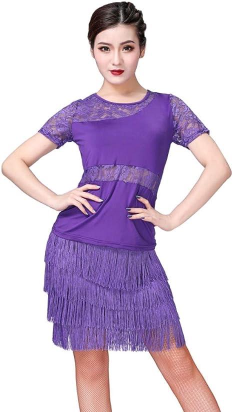 Camisa de Manga Corta con Doble Perspectiva de Encaje + Falda de Baile Latino con Flecos Ropa Deportiva de Dos Piezas: Amazon.es: Deportes y aire libre