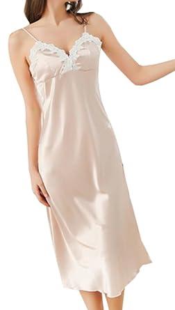254db39943eab BYWX-Women Satin Nightgown Long Slip Sleeveless Sleepwear Night Dress Aspic  US S