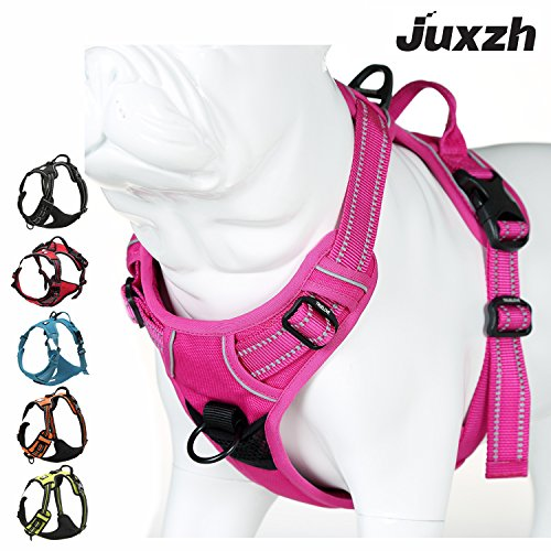 JUXZH Soft  Dog Harness .3M Reflective No Pull Harness with handle and Two Leash Attachments (Best Harness For Weimaraner)