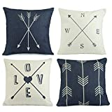 neutral living room decor Hermosa Collection Contemporary Decorative Throw Pillow Covers (4 Pc. Set) 18 x 18 Cotton Linen Squares Boho Neutral Colors Living Room Bedroom Patio Decor Couch Sofa and Bed Accessories