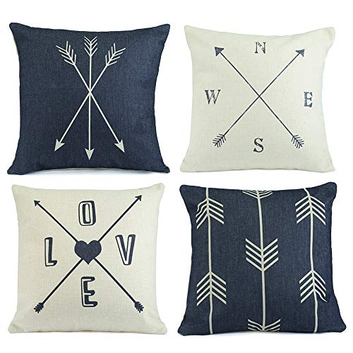 Hermosa Collection Contemporary Decorative Throw Pillow Covers (4 Pc. Set) 18 x 18 Cotton Linen Squares | Boho Neutral Colors | Living Room, Bedroom, Patio Decor | Couch, Sofa, and Bed Accessories