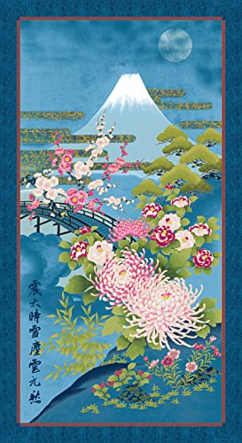 Mt. Fuji: Blue and Gold Metallic Asian Japanese Kona Bay Fabric Panel (24 Inches by 44 (Gold Kona Bay)