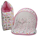Amardeep And Co Baby Mattress With Mosquito Net, Sleeping Bag Combo 0-3 Months (Pink)
