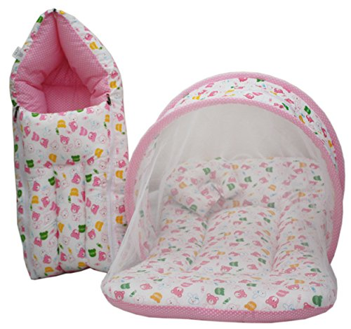 Buy Amardeep Baby Mattress With Mosquito Net Sleeping Bag Combo, Pink  Online At Low Prices In India   Amazon.in