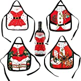 4Pcs Christmas Wine Bottle Covers, Mini Christmas Apron Bottle Cover Bag Set for Home Dinner Holiday Party Table Decoration, Xmas Ornaments, Dress up Wine Bottle