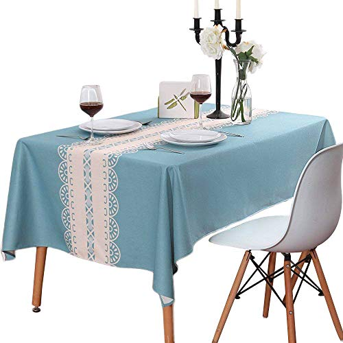 TUBEROSE Blue Table Cloth Faux Linen Rectangle Tablecloth with Stripe for Dinning, 60x84 Inch