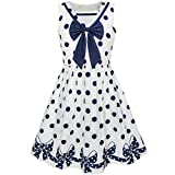 Sunny Fashion LC34 Girls Dress Navy Blue Dot Bow Tie Back School Size 8