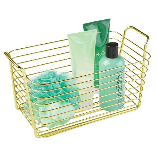 mDesign Farmhouse Metal Storage Organizer Basket Bin with Handles - Holds Hand Soaps, Body Wash, Shampoos, Lotion, Conditioners, Hand Towels, Hair Accessories, Body Spray - Medium - Gold - Basket Brass