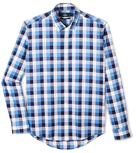 Buttoned Down Men's Slim Fit Button-Collar Supima Cotton Dress Casual Shirt