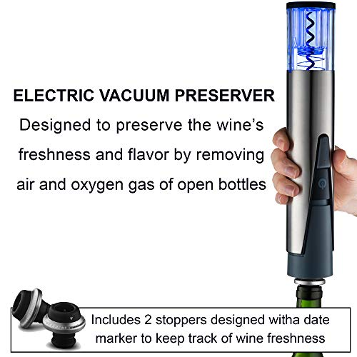 Gourmia 2 in 1 Wine Opener and Preserver set–Electric Corkscrew Rechargeable Wine Bottle Opener and Sealer–Removes Corks,Vacuum Seals and Preserves Wine–Includes Foil Cutter,2 Stoppers,Recharging Base by Gourmia (Image #4)