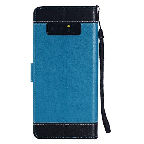 Funda Para Samsung Galaxy Note 8 Color sólido , TOCASO Samsung Galaxy Note 8 Cuero Carcasa Libro de Cuero Con Tapa y Cartera, Carcasa PU Leather Con TPU Silicona Case Interna Suave,Soporte Plegable,Ra Azul