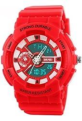 Fanmis Women's Men's Sporty Design Multifunctional Analog Digital Waterproof Wrist Watch Red