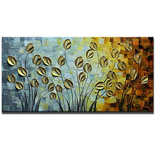 Asdam Art Gold Daisy Oil Paintings on Canvas Budding Flowers Art 100% Hand-Painted Abstract Artwork Floral Wall Art For livingroom Bedroom Dinning Room Decorative Pictures Home Decor (20X40in) by Asdam Art