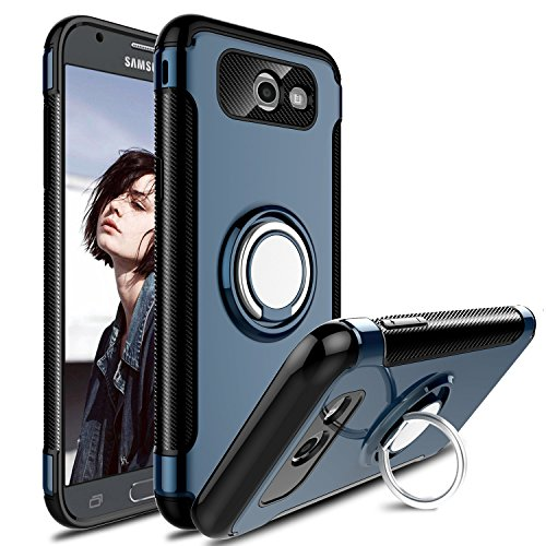 Galaxy J7 2017 Case, J7 Sky Pro Case, J7 Perx Case, Elegant Choise Hybrid Dual Layer 360 Degree Rotating Ring Kickstand Protective Case with Magnetic Case Cover for Samsung J7 2017 (Grey)