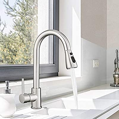 Hoimpro Commercial High-Arc Singel Handle Kitchen Sink Faucet With Pull Out Sprayer, Modern Rv kitchen Faucet With Pull Down Sprayer, 3 Function Touch Water Faucet, Brass/Brushed Nickel(1 or 3 Hole)