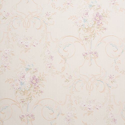 Cottage Floral Beige Shabby Chic Wallpaper for Walls - Double Roll - Romosa Wallcoverings LL7540 ()