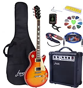 full size electric guitar with amp case and accessories pack sunburst musical. Black Bedroom Furniture Sets. Home Design Ideas