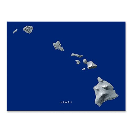 Amazon Com Hawaii State Map Print Hawaiian Islands Hi Navy Blue