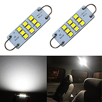 "Alla Lighting Festoon 44mm 1.73"" 3030 9-SMD Rigid Loop Extremely Super Bright White 561 562 567 564 LED Bulbs for Interior Map Dome Luggage Compartment Light Lamps Replacement"