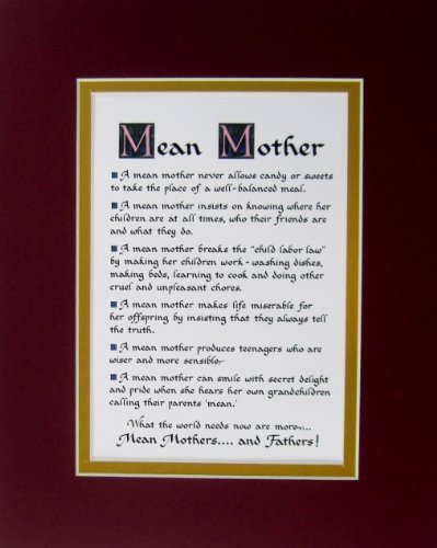 Humorous Mean Mother Double Matted Wall Decor Mom Poem Wall Sign Saying Gift