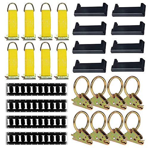 E-Track Tie-Down KIT! 4 Powder-Coated 8' Horizontal E Track Rails, 8 End Caps, 8 Rope Tie-Offs, 8 O Rings | Trailer Accessories, Cargo Securement