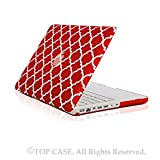 TopCase Quatrefoil / Moroccan Trellis Red Ultra Slim Light Weight Rubberized Hard Case Cover for Macbook White 13