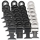 Pukido 24pcs Oscillating Multitool Saw Blades Set for Fein Multimaster Makita Bosch