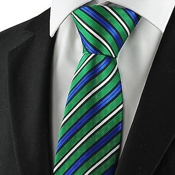 FYios®Nuevo rayas Blanco Azul Verde corbata de lazo Mens Regalo ...