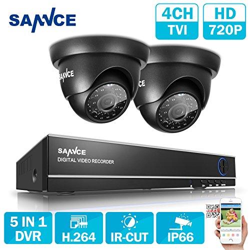 SANNCE 4CH Security Camera System 720P Hybid Digital Video Recorder w/2pcs...