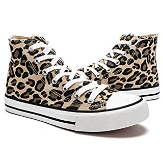 ZGR Womens High Top Canvas Leopard Sneakers Lace ups Casual Walking Shoes(Leopard,US7)