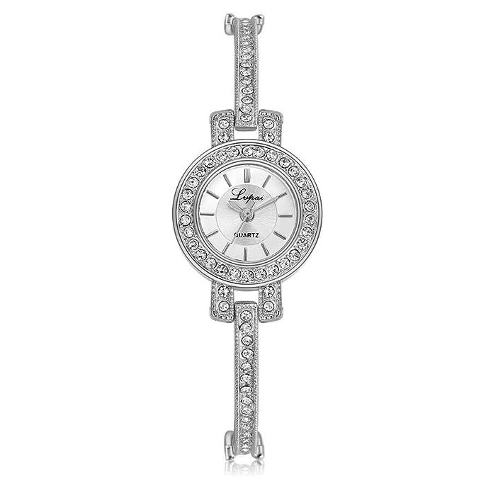 DressLksnf_Reloj Moda para Mujer Pulsera del Reloj Metal Durable Cadena Elegante de Diamante Fina Original Superficie Hermosa: Amazon.es: Ropa y accesorios