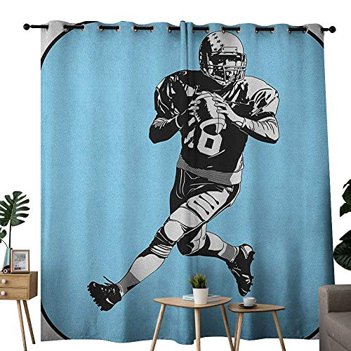 NUOMANAN Bedroom Curtain Sports,American Football League Game Rugby Player Run Original Retro Illustration, Blue Black White,Insulating Room Darkening Blackout Drapes -