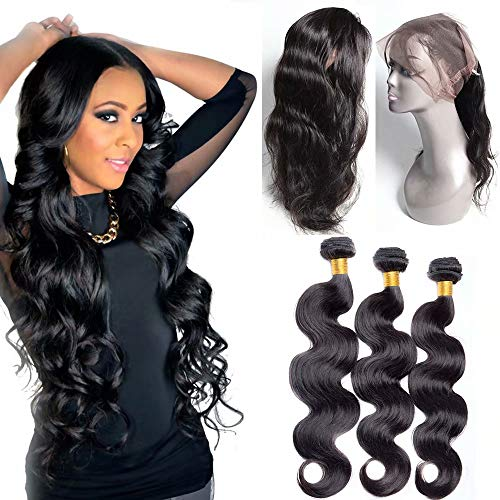 Maxine Body Wave with 360 Frontal (22 24 26+20) 9A Grade Brazilian Body Wave 3Bundles Virgin Human Hair Extensions with 360 Free Part Lace Frontal Closure with Adjustable Straps Natural Color (Closure Adjustable Knot)