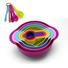 GOODEN 13 Pieces Mixing Bowl Set With Nesting colorful Measuring Cups Spoons sifter for Baking Cooking