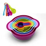 baking bowl sifter - GOODEN 13 Pieces Mixing Bowl Set With Nesting colorful Measuring Cups Spoons sifter for Baking Cooking