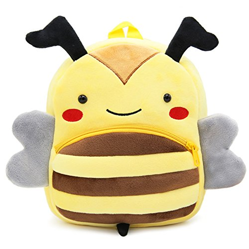Cute Toddler Backpack Toddler Bag Plush Animal Cartoon Mini Travel Bag for Baby Girl Boy 1-6 Years (Bee)