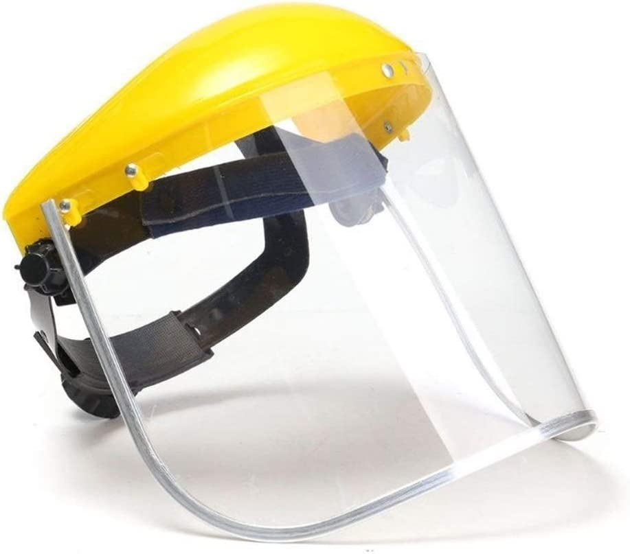 Anti-saliva prueba de polvo careta de protección transparente de PVC de seguridad Caras pantalla Escudos de repuesto del tracto respiratorio viseras cabeza de la cara Protectio (Color : Yellow)