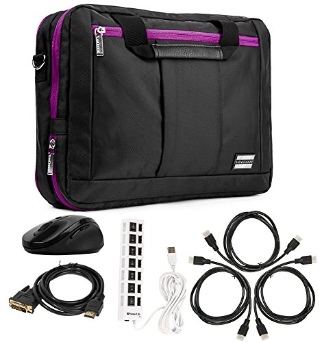 3 in 1 Purple Bag USB Mouse 3 HDMI Cables & DVI Dual Link 7 Port USB for Lenovo Laptops 10''-12'' by Vangoddy