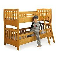 2段ベッド セミシングル フレーム単体 パイン 無垢材 天然木 カントリー調 梯子付き 3段階高さ調整 木製 人気 (ライトブラウン)