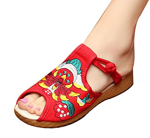 Insun Slip Loafers Insun On Sandals Red Womens Embroided Womens FwpqrF